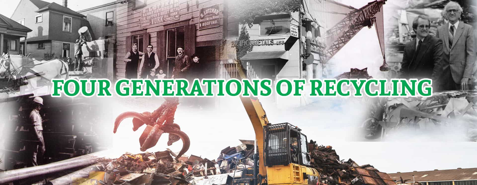 An image of four generations of recycling history